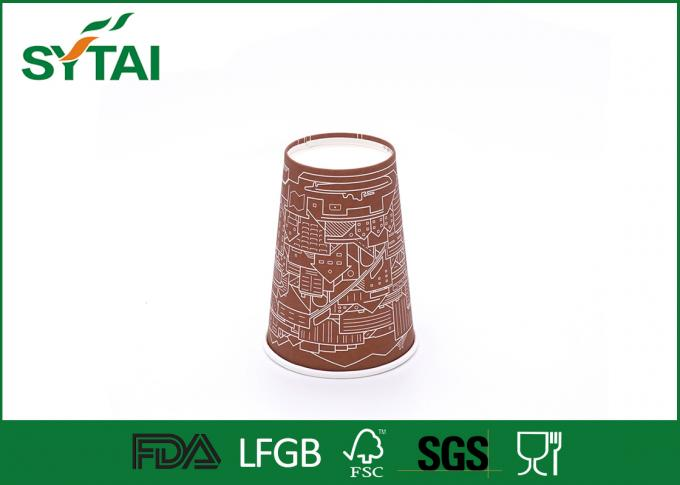 10 onzas con 350 ML Insulated logotipo Compostable Brown & White Paper Cups, Custom Company